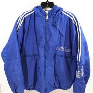 Vintage Adidas Blue White Puffer Bomber Coat
